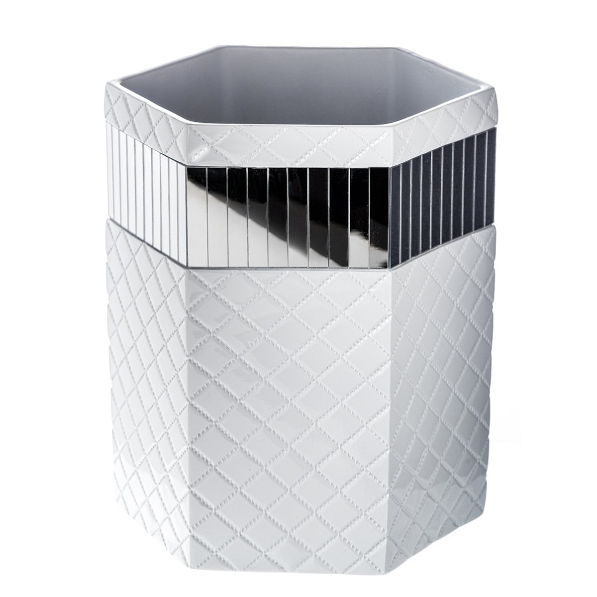 Amazon.com: Quilted Mirror Bathroom Trash Can (8.1 x 7 x 9.8)  Decorative  Wastebasket- Durable Waste Paper Baskets- Cool Fashion Design- Space  Friendly ...