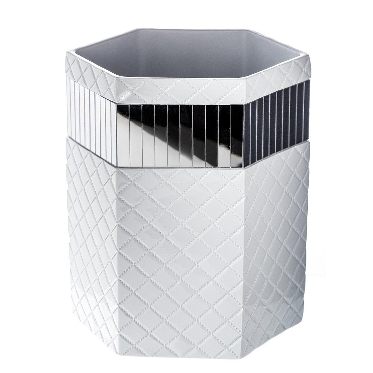 Quilted Mirror Bathroom Trash Can (8.1'' x 7 x 9.8'') - Decorative Wastebasket- Durable Waste Paper Baskets Design- Space Friendly Bath Rubbish Dust Bin- for Elegant Shower Décor by Creative Scents