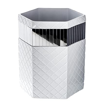 Amazon Com Quilted Mirror Bathroom Trash Can 8 1 X 7 X 9 8
