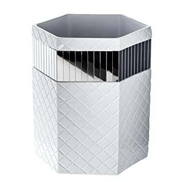 "Amazon.com: Quilted Mirror Bathroom Trash Can (8.1"" x 7 x 9.8 ..."