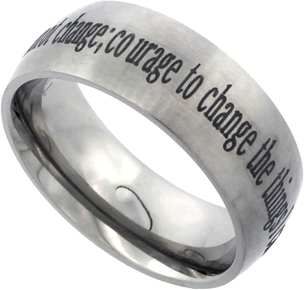 Sabrina Silver 8mm Titanium Wedding Band Serenity Prayer Ring Domed Brushed Finish Comfort Fit Sizes 7-14