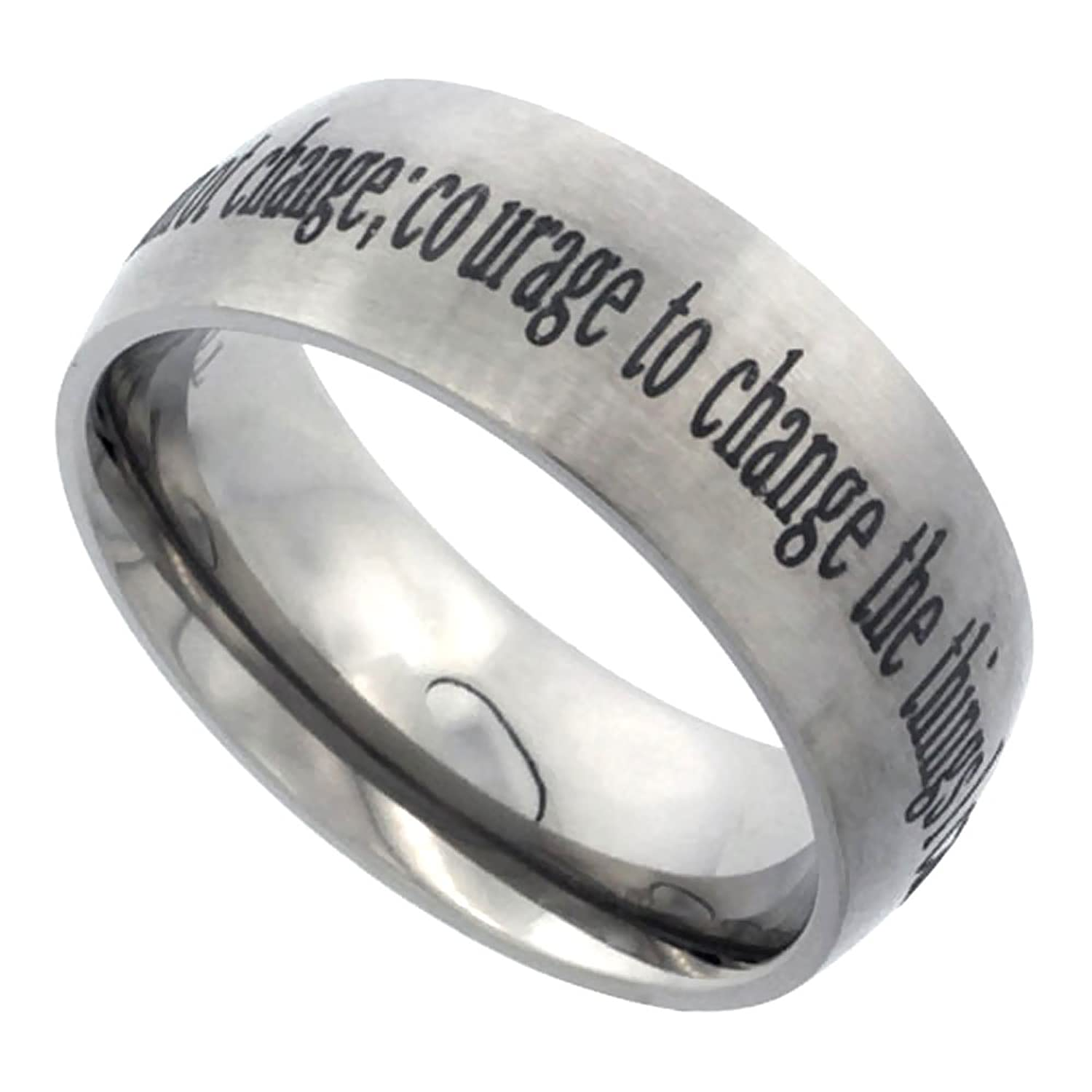 Amazon Titanium 8mm Wedding Band Serenity Prayer Ring Domed