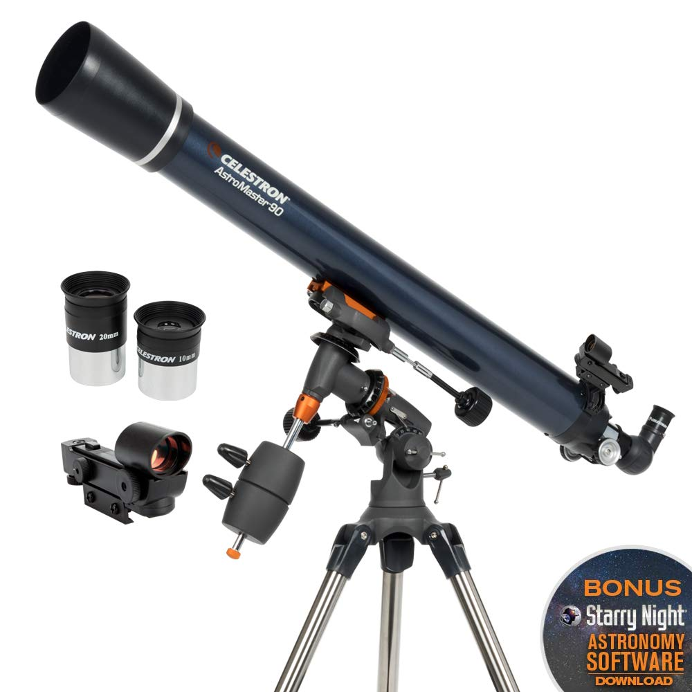 Celestron - AstroMaster 90EQ Refractor Telescope - Refractor Telescope for Beginners - Fully-Coated Glass Optics - Adjustable-Height Tripod - BONUS Astronomy Software Package by Celestron