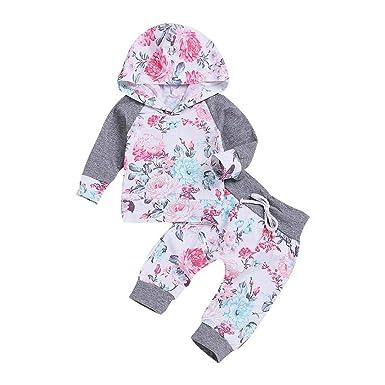 Recien Nacido Bebe Niña Floral Tops con Capucha + Pantalones Conjunto 2 Piezas de Ropa Otoño e Invierno