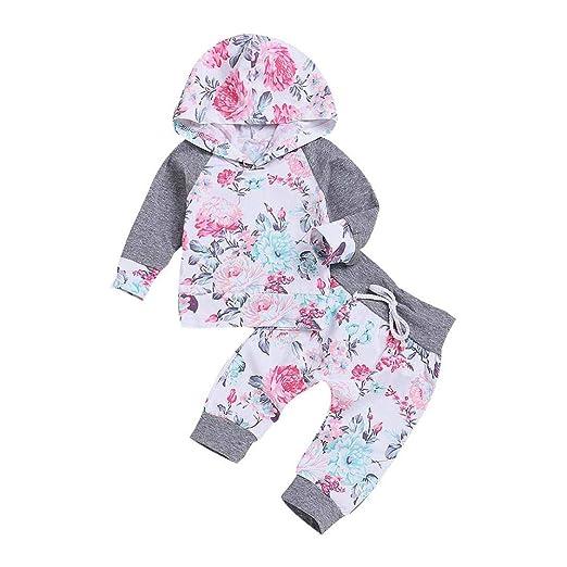 Recien Nacido Bebe Niña Floral Tops con Capucha + Pantalones Conjunto 2 Piezas de Ropa Otoño e Invierno: Amazon.es: Ropa y accesorios