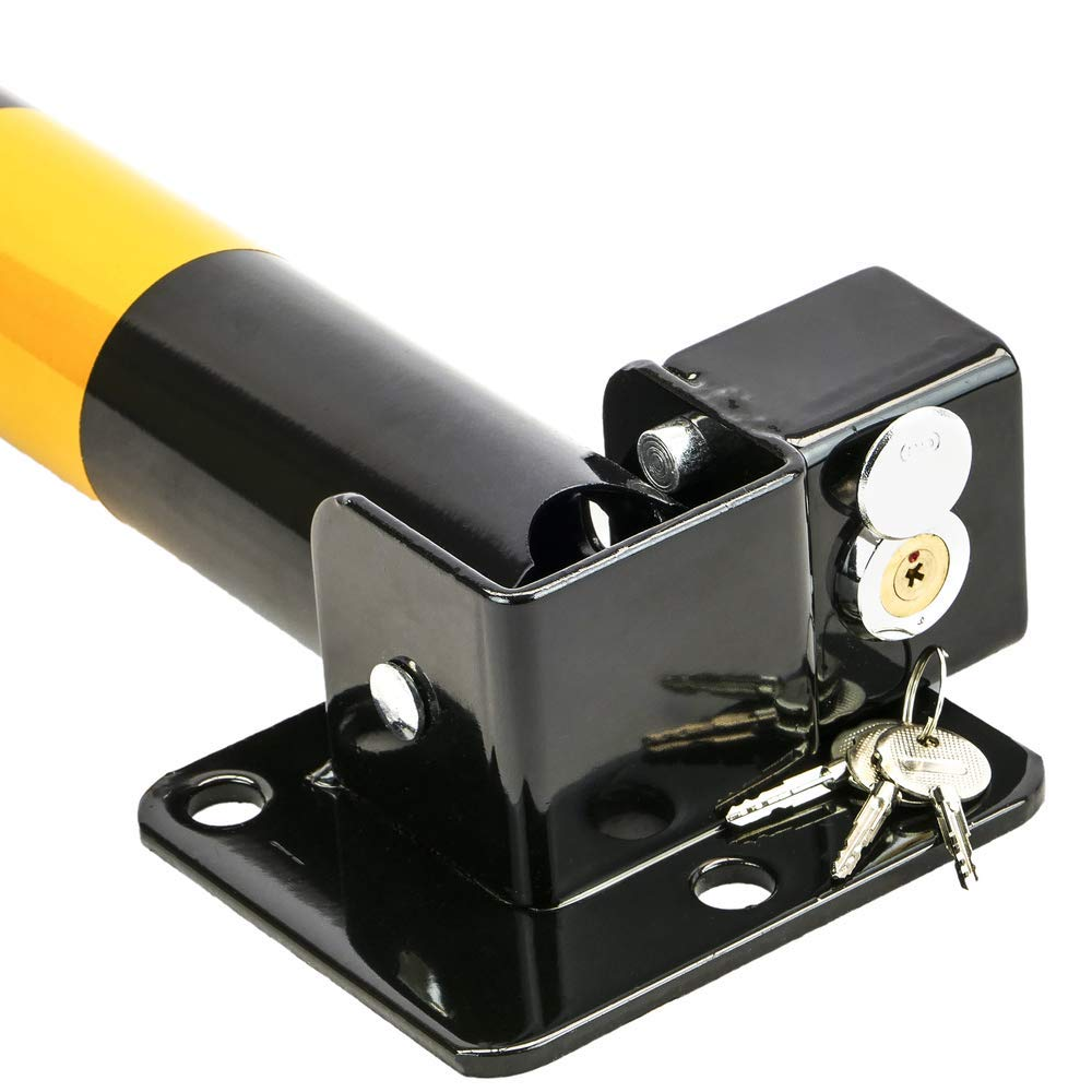 PrimeMatik Pilona de acero plegable bolardo abatible con cerradura 57x600mm