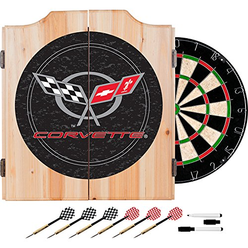 Corvette C5 Design Deluxe Wood Cabinet Complete Dart Set - Includes 3 Bonus 23gm Dart Set! by TMG