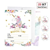EXIJA 25 Pack Glitter Unicorn Invitations with 25