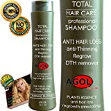 Hair Growth Stimulating Shampoo, Loss and Thinning Therapy DTH Remover from Natural Plants Extracts and Seaweed AG5 Formula Hair Care Balanced pH Decrease Dandruff & Scalp Problem .Woman & Men 14.1 Oz