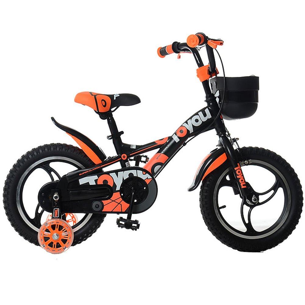 LLL- 子供用自転車 2-4歳 ユニセックス 子供用自転車 12インチ ベビーキャリッジトライク トレーニングホイール付き  オレンジ B07R5SW9TM