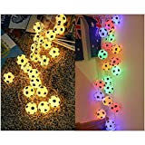 Pawaca World Cup Soccer String Lights,2M/6.56ft 20 LED Outdoor Light String,Battery Charging Football LED Lamp for Bar Home,Garden, Party (Warm White)