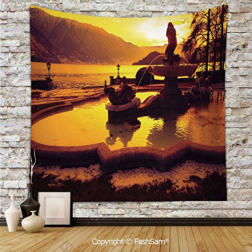 Tapestry Wall Blanket Wall Decor Tremezzo at Sunset Mediterranean Famous Town Landmark European City Town Scenery Home Decorations for Bedroom(W51xL59) ()