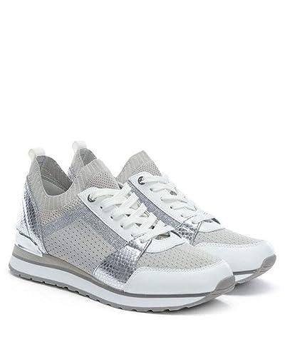 54bde0cc9e103 Michael Michael Kors Womens Billie Trainer Leather Low Top, Aluminum, Size  8.5