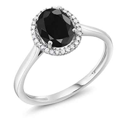 10k White Gold Black Sapphire And Diamond Halo Engagement Ring 1 66