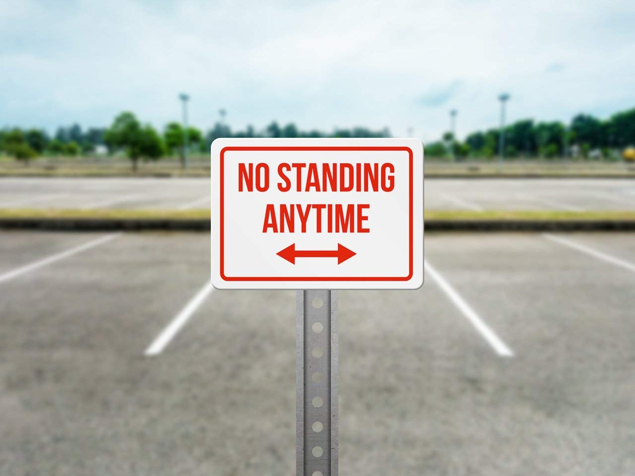 Metal iCandy Products Inc No Standing Anytime Right and Left Arrow No Parking Business Safety Traffic Signs Red 7.5x10.5