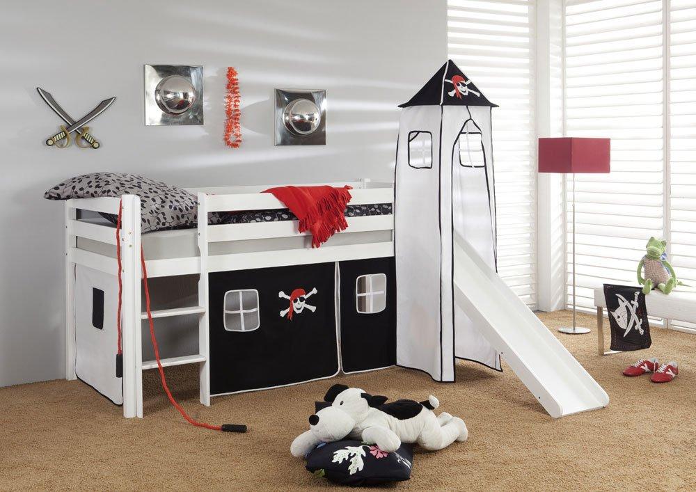 Etagenbett Mit Rutsche Wickey : Lifestyle living hochbett in kiefer massiv weiß mit rutsche und