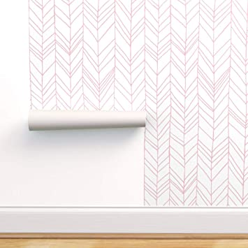 Spoonflower Peel And Stick Removable Wallpaper Chevron Pink White Herringbone Modern Home Night Whimsical Children Owl Print Self Adhesive Wallpaper 12in X 24in Test Swatch Amazon Com