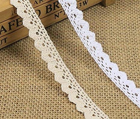 Yulakes 10 metros de encaje de la vendimia cinta de encaje blanco ...