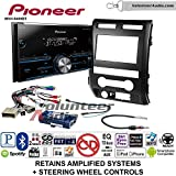 Pioneer MVH-S400BT Double Din Radio Install Kit with Bluetooth USB/AUX Fits 2009-2010 Ford F-150 (Black) (Retains steering wheel controls)