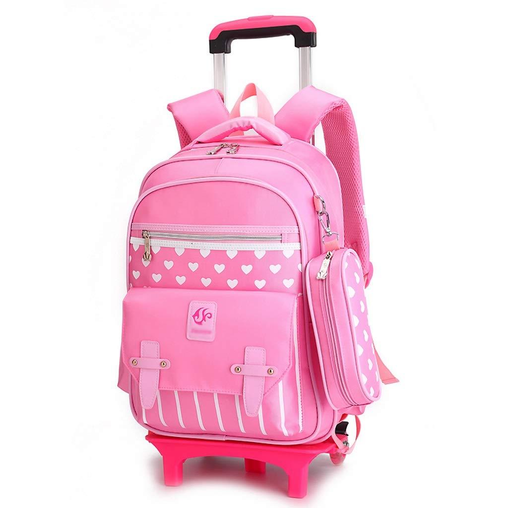 C-Xka トロリースクールバッグナイロン防水ローリングバックパック防水6輪クライミング階段子供のスクールバッグ少年少女のための小学校の学生トロリーブックバッグ B07JPR3N5R Pink Two rounds