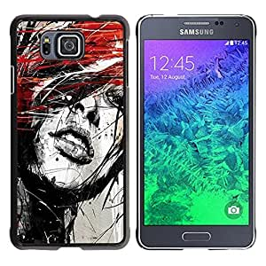 Qstar Arte & diseño plástico duro Fundas Cover Cubre Hard Case Cover para Samsung GALAXY ALPHA G850 ( Portrait Woman Grunge Paint Splashes Art Red Hair)