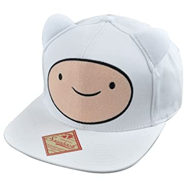 f4d606afa13 Adventure Time Finn Ears Snapback Flat Bill White Hat Cap Cartoons  Characters Tv