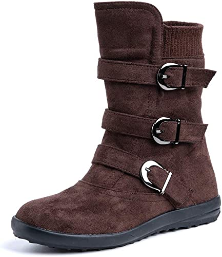 Femme Boots Foncé Eclair 35 Plates Botte Hiver Fermeture Bottes Bas Femmes Neige Boucle Daim Cuir Eu Fourrure Marron Bottine Low ED2bWHYe9I