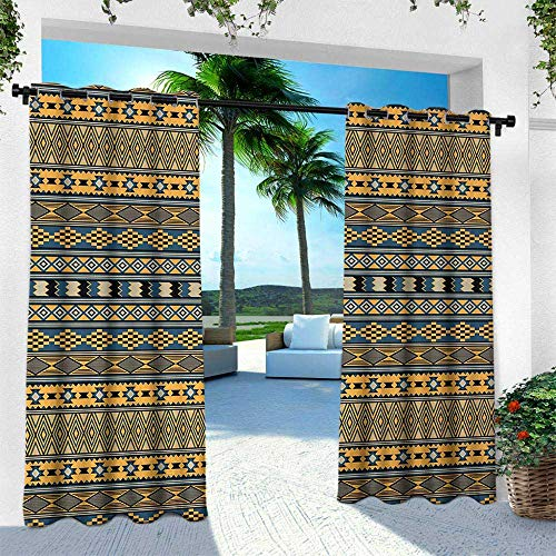 (Hengshu Afghan, Balcony Curtains,Middle Eastern Geometric Shapes Ethnic Squares Chevron and Rhombuses Arrangement, W96 x L84 Inch, Multicolor)