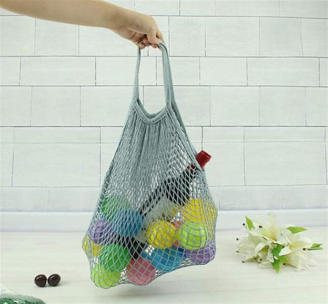 Mings Easy to Use and Well-made Supermarket Green Shopping Net Bag Cotton Woven Mesh Bag Net Pocket Toy Storage Bag_Gray