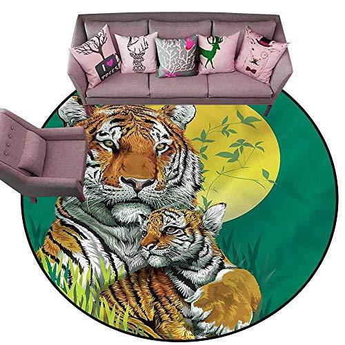 Tigers Small Baseball Rug - Anti Slip House Kitchen Door Area Rug Safari,Tiger Family in Jungle Diameter 48