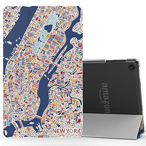 MoKo Hülle für Fire HD 8 2016, PU Leder Tasche Case mit Translucent Rücken Deckel,mit Auto Schlaf/Wach Funktion / Standfunktion für das neue Fire HD 8 Tablet (6. Generation - 2016), New York City