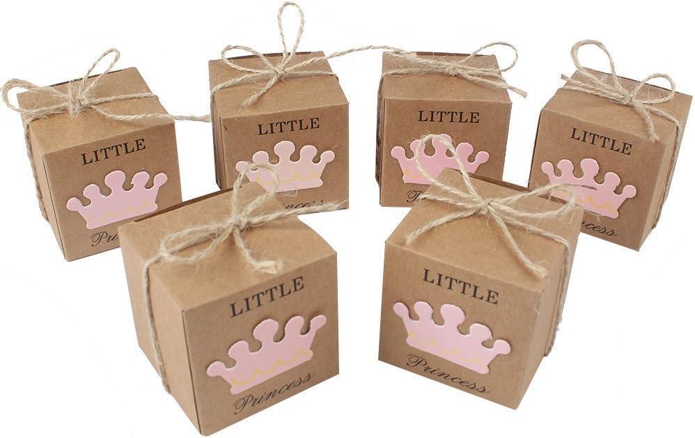 doshop 50 pcs Principito bebé ducha favor caja con yute Twines, papel de estraza caja Candy cajas caja de regalo para boda fiesta cumpleaños novia ducha decoración: Amazon.es: Hogar