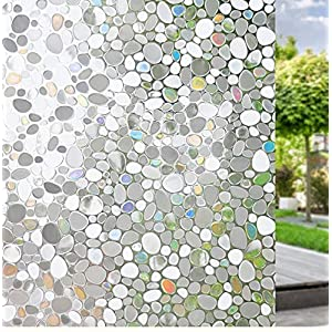 Niviy 3D Non-Adhesive Window Film Decorative Privacy Static Clings Removable Glass Film with Pebble Pattern for Window Covering