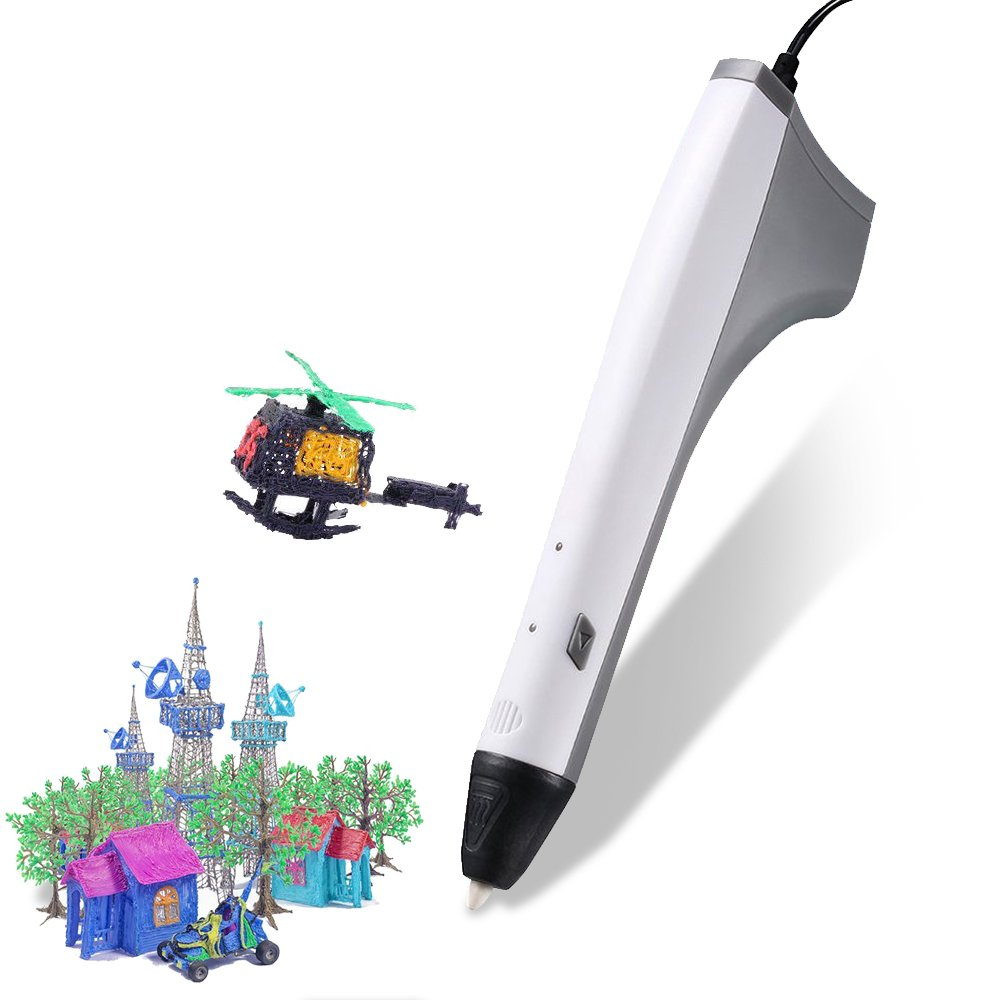 3D Pen,Rightwell 3D Printing Pen with USB USB Charge Cable, 2PCS Filament Refills,PCL and PLA Compatible for Crafting, Art & Model DIY Gifts for Kids(White)
