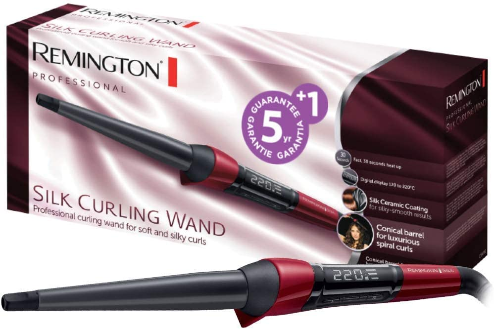 Remington Silk CI96W1 - Rizador de pelo, Pinza de 13 a 25 mm, Cerámica Sedosa, Digital, Punta Fría, Negro y Rojo