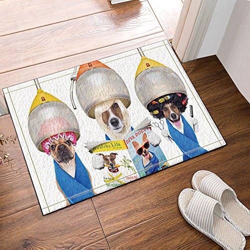 HiSoho Lady Dogs Do The Hair Salon with Magazine Bath Rugs Non-Slip Floor Entryways Outdoor Indoor Front Door Mat,15.7x23.6in Bath Mat (Personalized Magazine Covers)