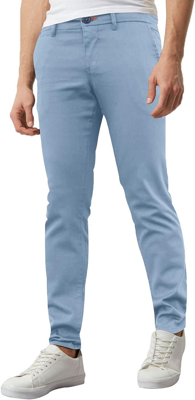 WestAce Pantalones ajustados de chino elástico para hombre, estilo informal