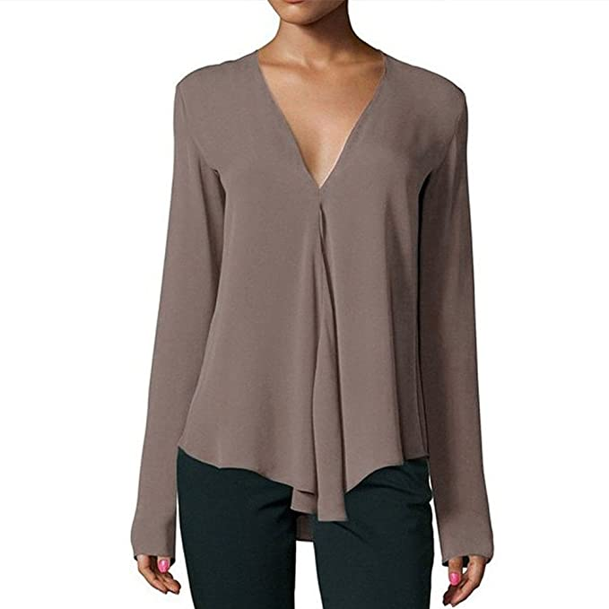 VJGOAL Mujeres Otoño Casual Moda Blusas de un Color Sólido V ...