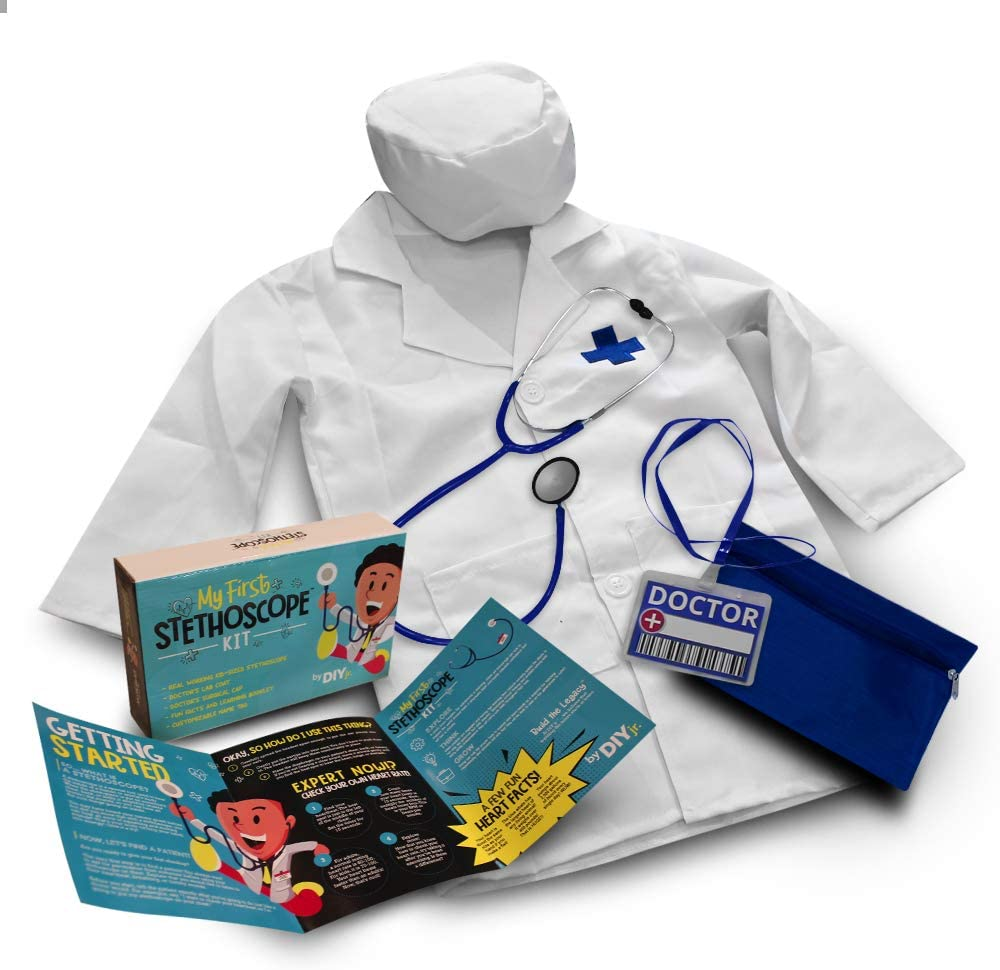 DIY jr My First Stethoscope Doctor's Kit - Includes Kid Sized Stethoscope, Lab Coat, Surgical Cap, Name Tag, Lanyard and Information Booklet