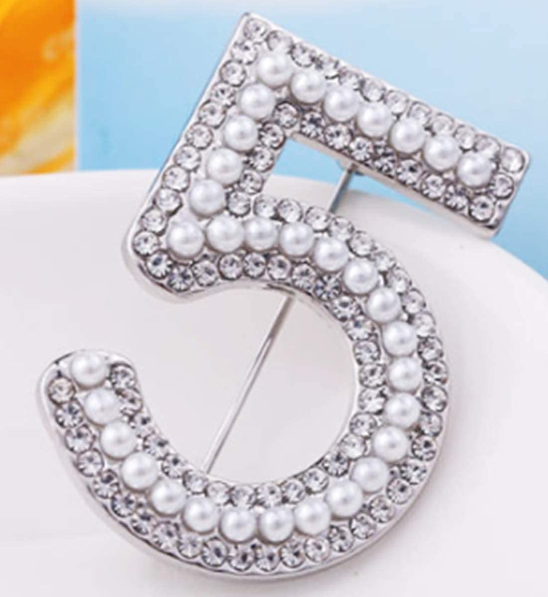 Alloy Artificial Pearl Brooch Pin Pat Mendoza Women/'s Lucky Fashion Digit 5 Brooches