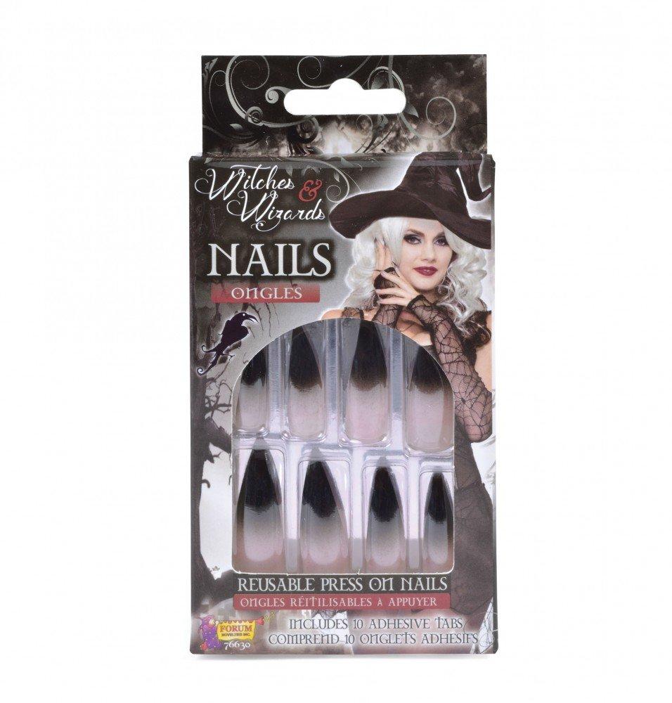 Lange künstliche Fingernägel schwarz-weiß selbstklebend spitze Krallen Hexe