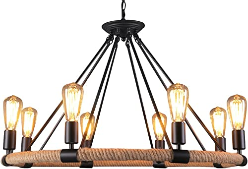 Boshen Industrial Vintage Hemp Rope Chandelier Iron Ceiling Lamp Pendant Metal Island Lighting Fixture