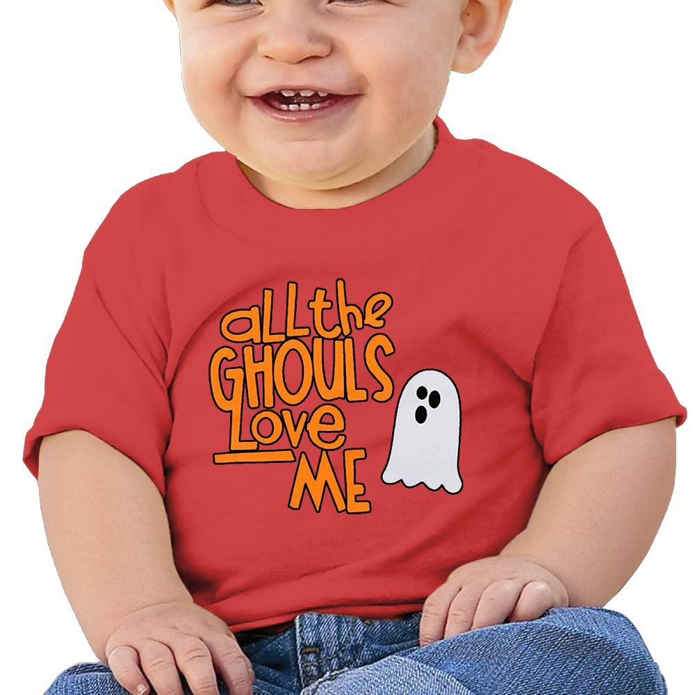 Chengrangst All The Ghouls Love Me Toddler/Infant Short Sleeve Cotton T Shirts Gray
