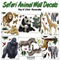 Create-A-Mural : Safari Animal Wall Decals- (30) Jungle Animal Wall Stickers For Kids Room Decor