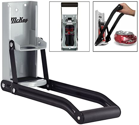 Mckay 16 Oz Metal Can Crusher Smasher Crushes Soda Cans Beer Cans And Bottles Grey