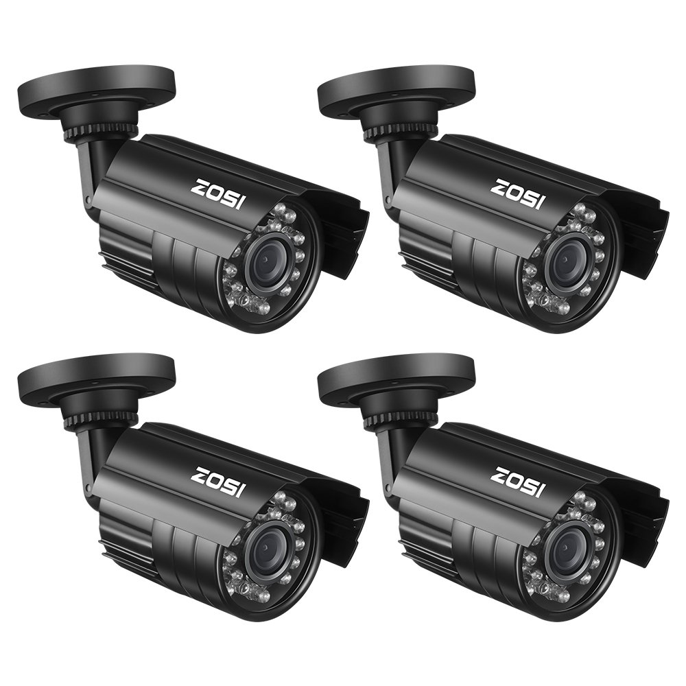 ZOSI 4 Pack Bullet Fake Securtiy Camera with Red Light,Dummy Surveillance Camera Outdoor Indoor Use,Wireless Simulate Cameras for Home Security