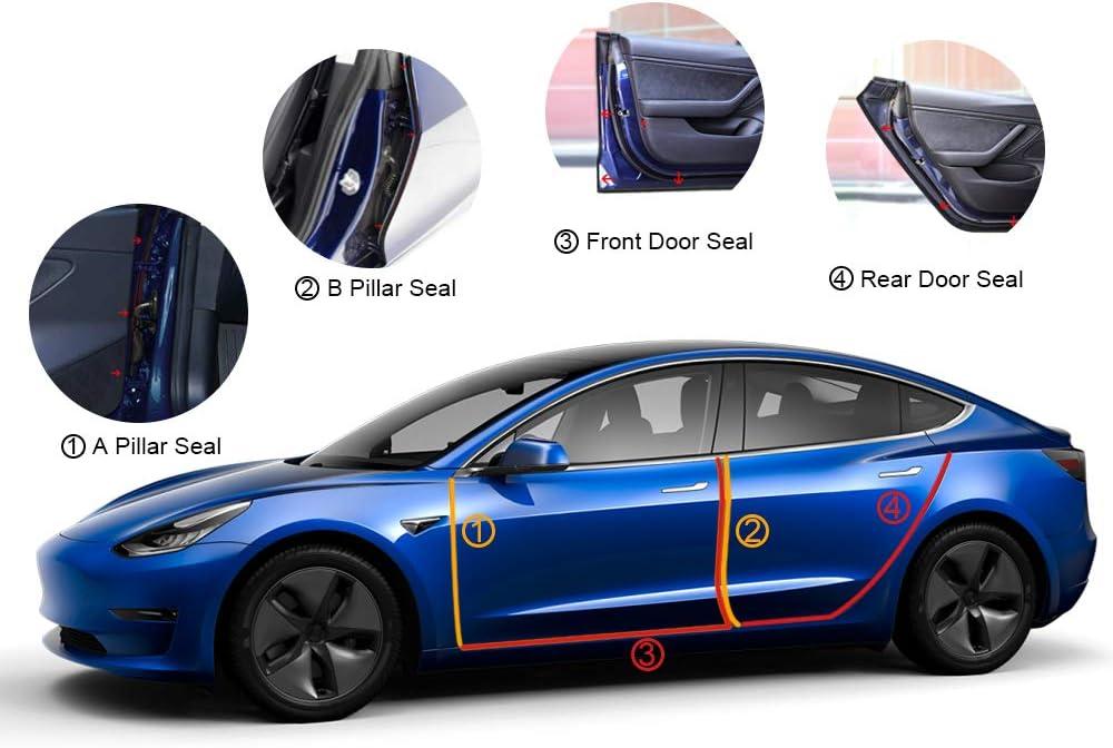 Gummidichtung stormguard//Staubdicht//Ger/äuschreduzierung T/ürdichtung dichtungsstreifen Kit aus gummischaum Volwco Auto Dichtungsstreifen f/ür Tesla Model 3 zubeh/ör