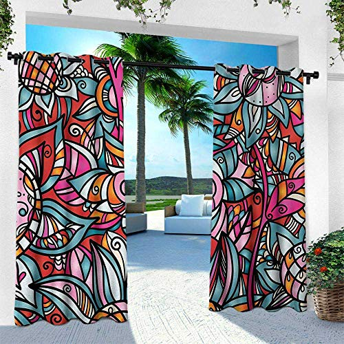 Hengshu Abstract, Balcony Curtains,Colorful Florals Sunflower Mosaic Curl Ornaments Stained Glass Inspired Design, W120 x L108 Inch, Multicolor