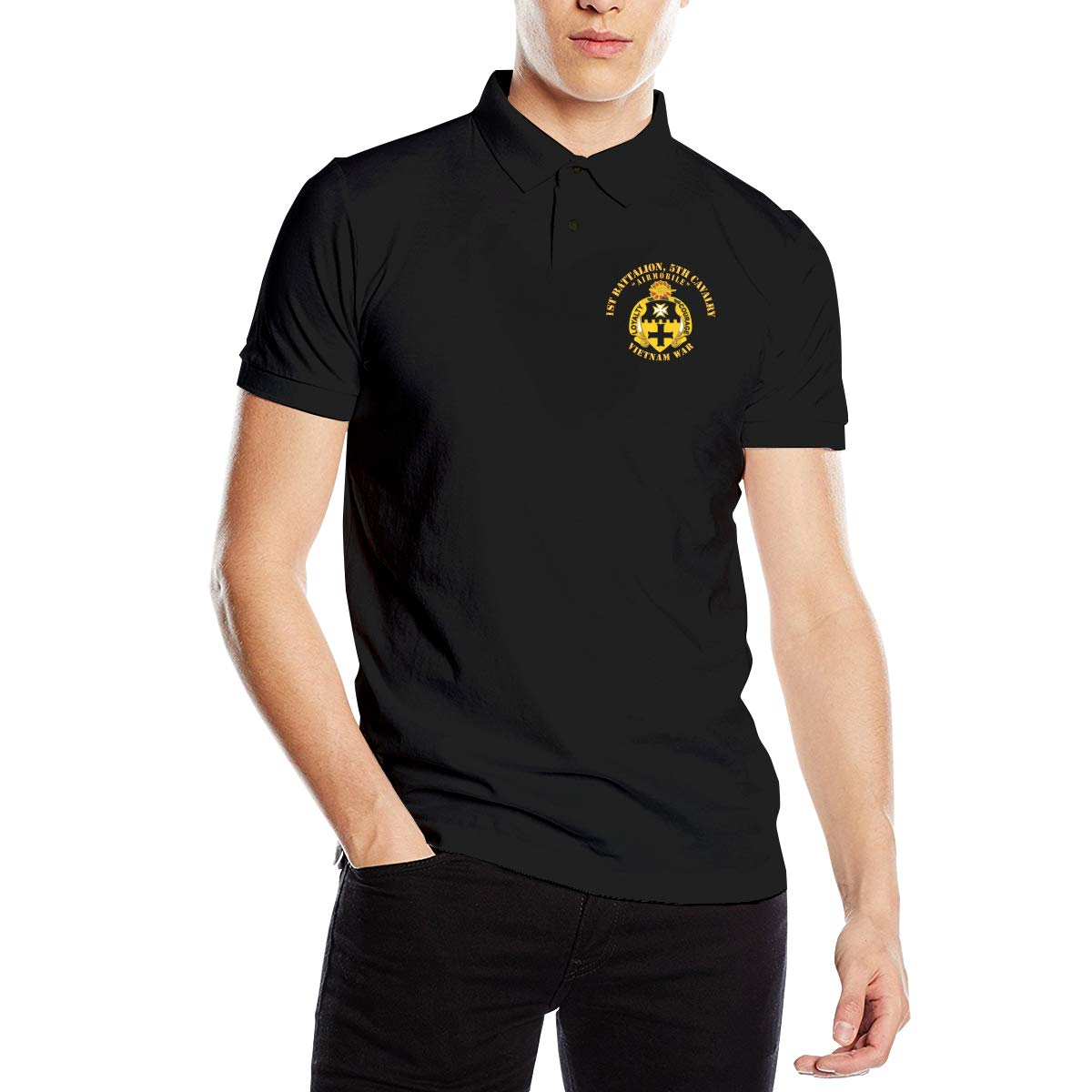 You Know And Good 1st Battalion 5th Cavalry Mens Regular-Fit Cotton Polo Shirt Short Sleeve