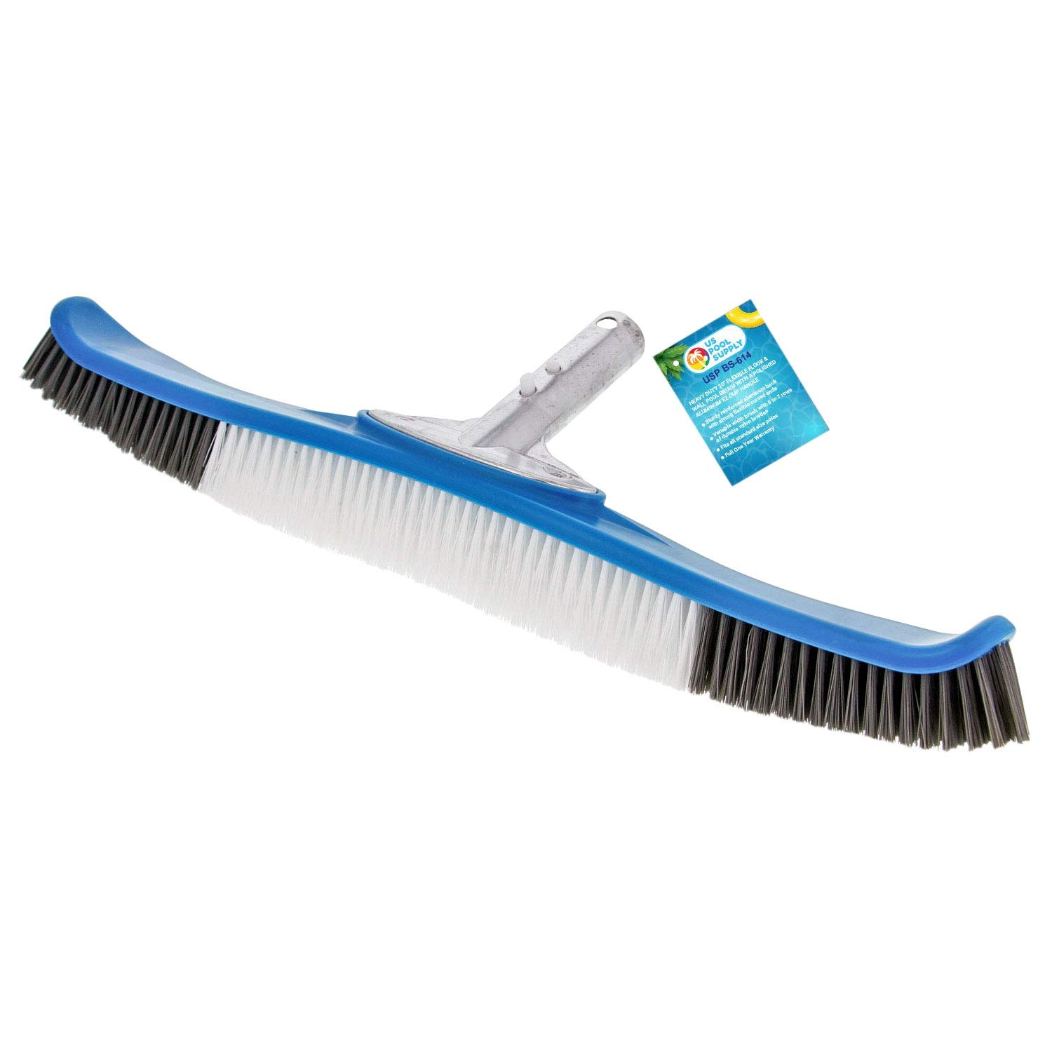 U.S. Pool Supply Professional Heavy Duty 20'' Flexible Floor & Wall Pool Brush with Polished Aluminum EZ Clip Handle - Curved Ends, Durable Nylon Bristles - Easily Sweep Algae from Walls, Floors, Steps by U.S. Pool Supply